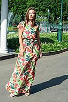 Легкое летнее платье в пол, принт: красные цветы на бежевом 42-46 и 48-52, фото 1