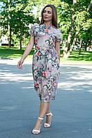 Летнее повседневное платье (40-50рр), принт цветы на дымчасто-бежевом