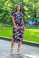 Летнее повседневное платье (40-50рр), принт пастельные цветы на темно-синем