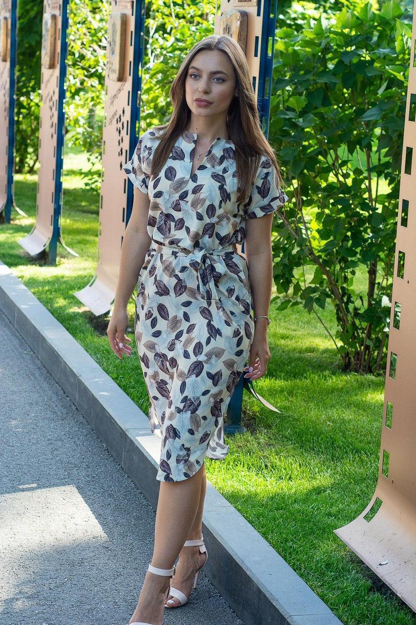 Летнее повседневное платье (40-50рр), принт листья
