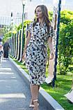 Летнее повседневное платье (40-50рр), принт листья, фото 2