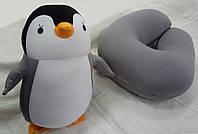 Подушка-игрушка Дорожная для шеи Трансформер-антистресс ПІНГВІН