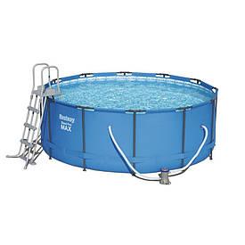 Круглый каркасный бассейн Bestway 56418 (366-100 см.) + ЛЕСТНИЦА + Фильтрующий насос
