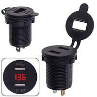 Автомобильное зарядное устройство 2 USB 12-24V врезное в планку + вольтметр (10253 USB-12-24V 4.2A RED)