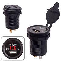 Автомобільний зарядний пристрій 1 USB 12-24V врізне в планку + вольтметр (10246 USB-12-24V 2,1 A RED)