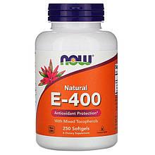 """Витамин Е, NOW Foods """"Natural E-400"""" натуральный (250 гелевых капсул)"""