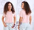 Красная однотонная летняя женская базовая футболка с короткими рукавами, фото 3
