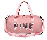 Спортивная женская сумка PINK розовая, размер 48x25x20см, нейлон, ремешок регулируемой длины, дорожная сумка
