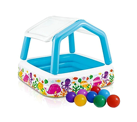 Детский надувной бассейн Intex 57470-1 «Аквариум» со съемным навесом, 157 х 157 х 122 см, с шариками 10 шт