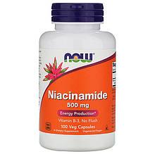 "Ниацинамид NOW Foods ""Niacinamide"" водорастворимый витамин B3, 500 мг (100 капсул)"