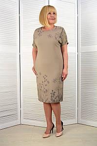 Платье лён-вискоза жатка одуванчики (3.212)
