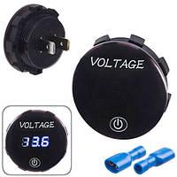 Вольтметр в планку + емкость 12-24V BLUE New (10451 4011)
