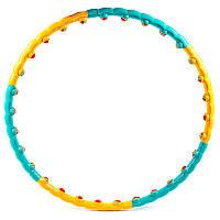 Обруч разборной, массажный, шарики, желто/зеленый, D=92/100cm, вес 1.1кг.