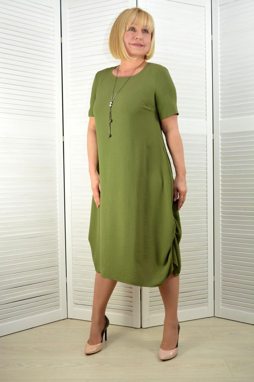 Платье лён-вискоза жатка хаки (3.211)