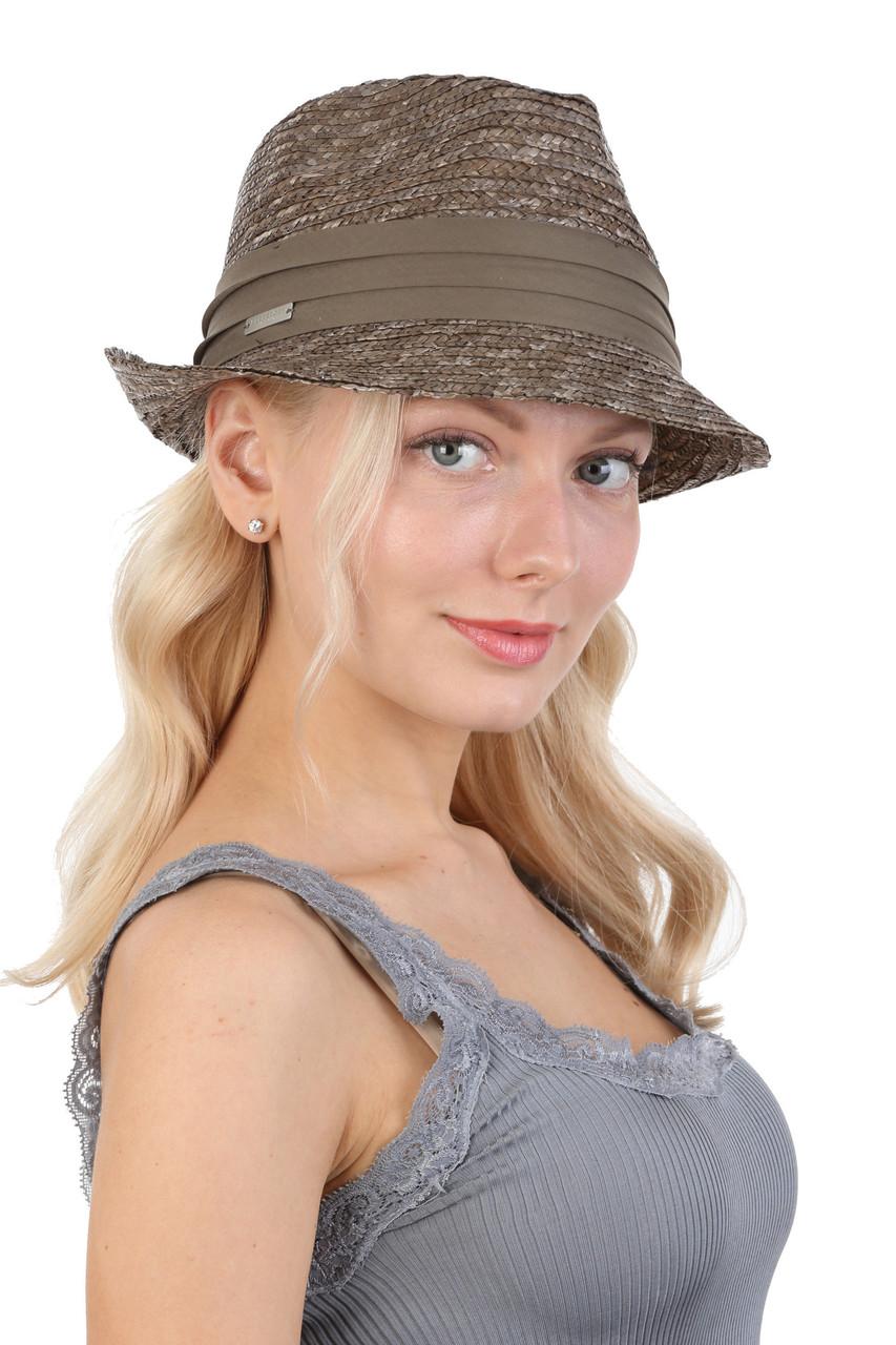 Шляпа трилби из натуральной соломы зеленая