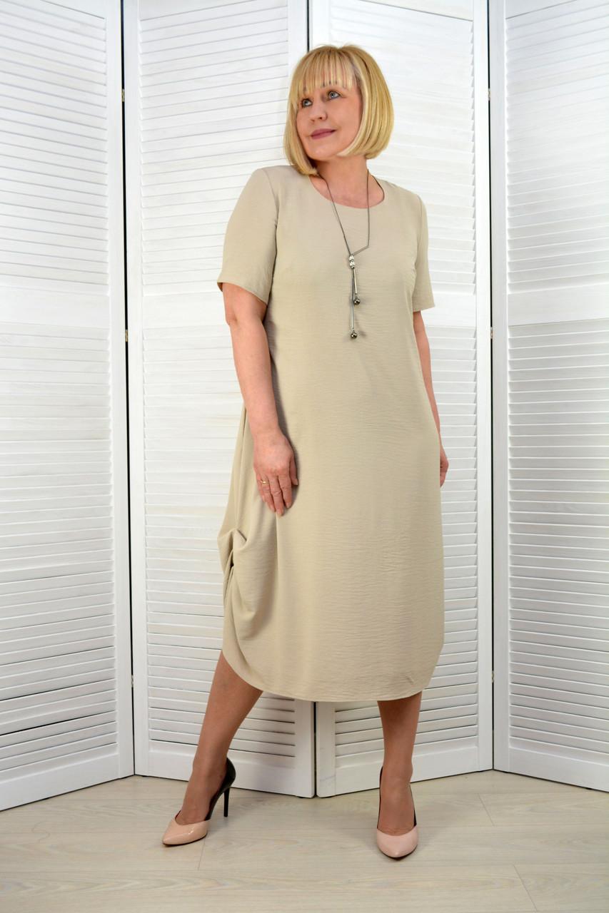 Платье лён-вискоза жатка светло-бежевое (3.211)