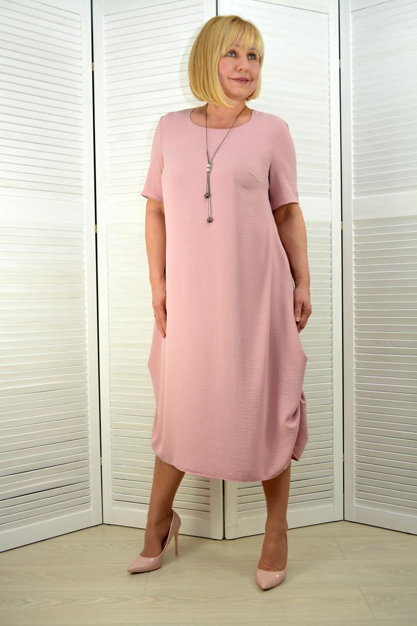 Платье лён-вискоза жатка розовое (3.211)