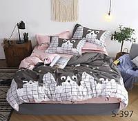 Двуспальный комплект постельного белья с компаньоном на молнии ТМ TAG сатин / комплект постільної білизни