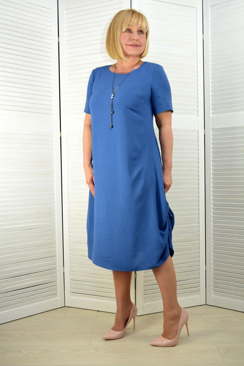 Платье лён-вискоза жатка джинс (3.211)