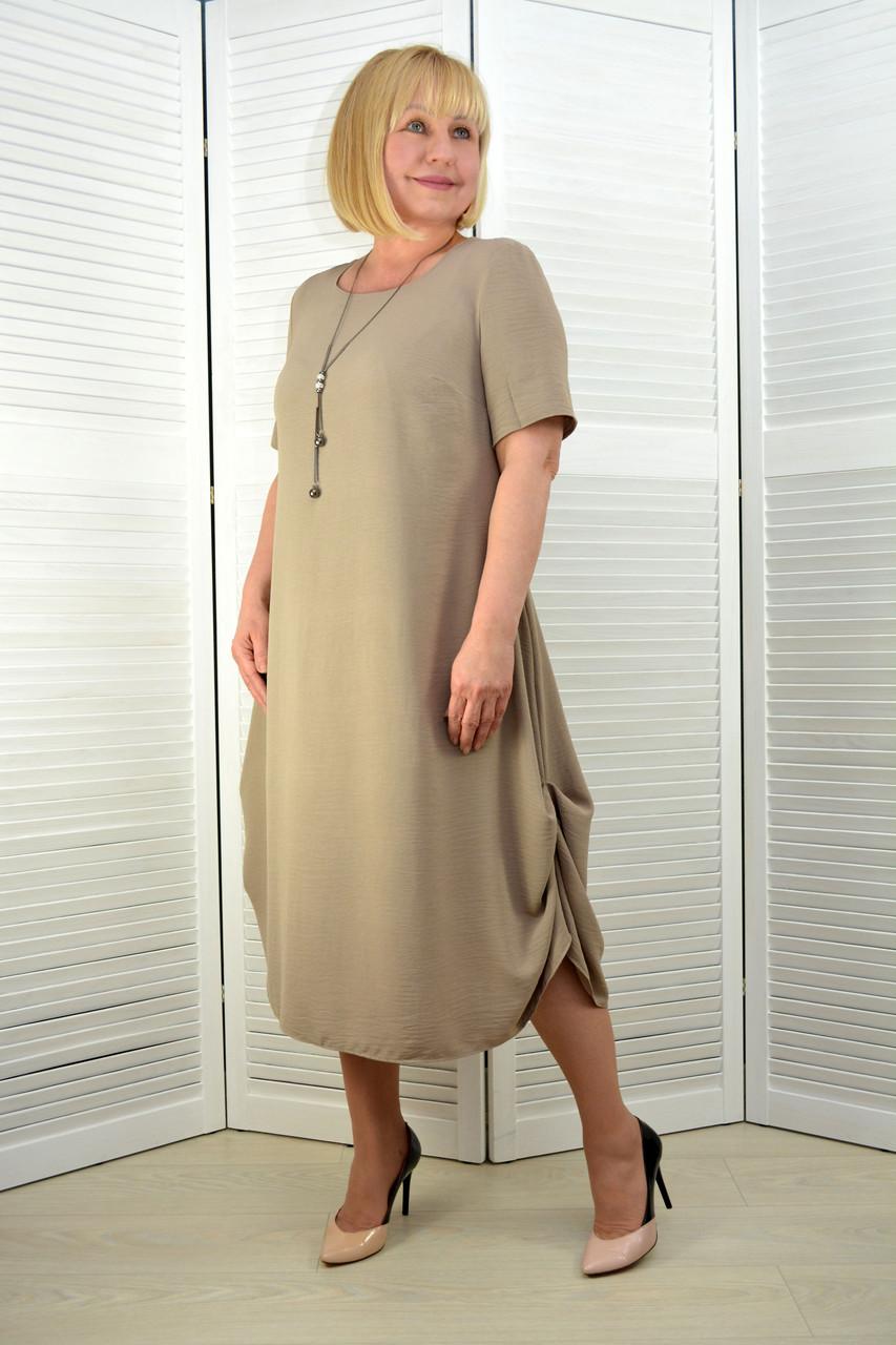 Платье лён-вискоза жатка темно-бежевое (3.211)