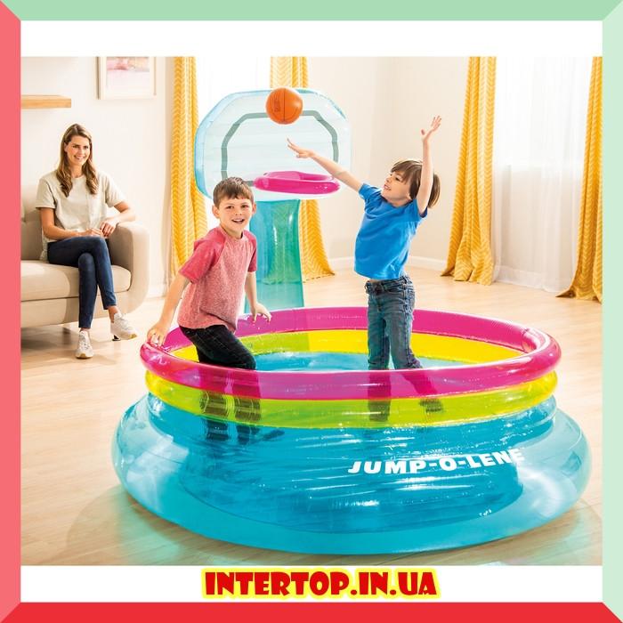 Детский надувной игровой центр бассейн с баскетбольным кольцом Intex 48265
