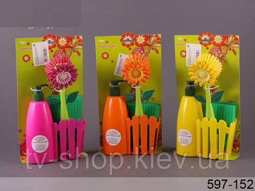 Дозатор +губка+ щетка для посуды FLOWER POWER,Vigar