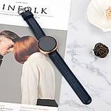 Ремешок для Samsung Active   Active 2   Galaxy watch 42mm кожаный 20мм размер S Темно-Синий BeWatch (1210189), фото 5