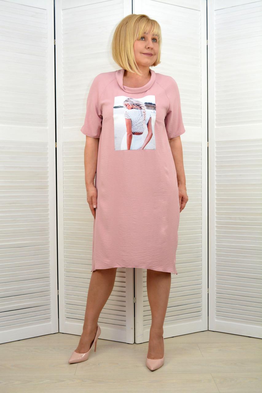 Платье розовое с принтом (18.26)