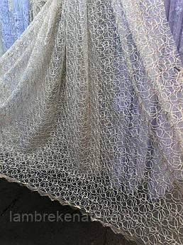 Тюль в зал фатин с вышивкой Паутинка кордово-золотистая