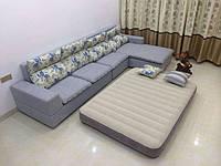 Надувной двуспальный велюр матрас 203*152*25 см, Intex 64103