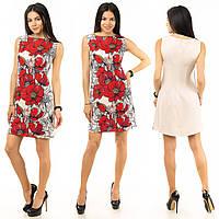 Платье натуральный лён с цветочным принтом короткое