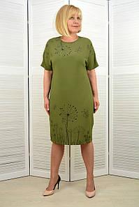 Платье хаки принт одуванчики (3.212)