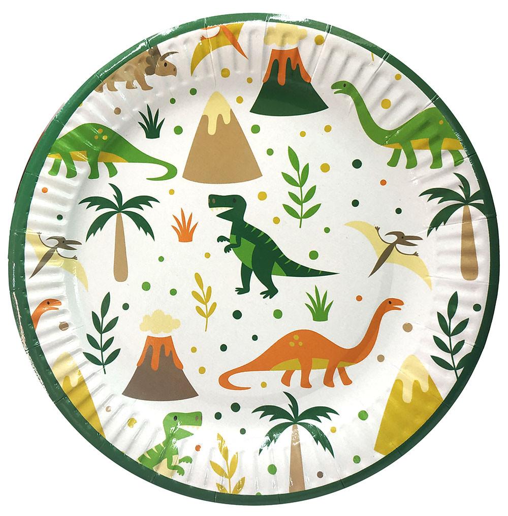 """Тарелки бумажные одноразовые  """"Динозавры, Dino"""" 10 шт./уп."""