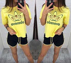 Стильный костюм футболка и шорты авокадо 42-48 (в расцветках)