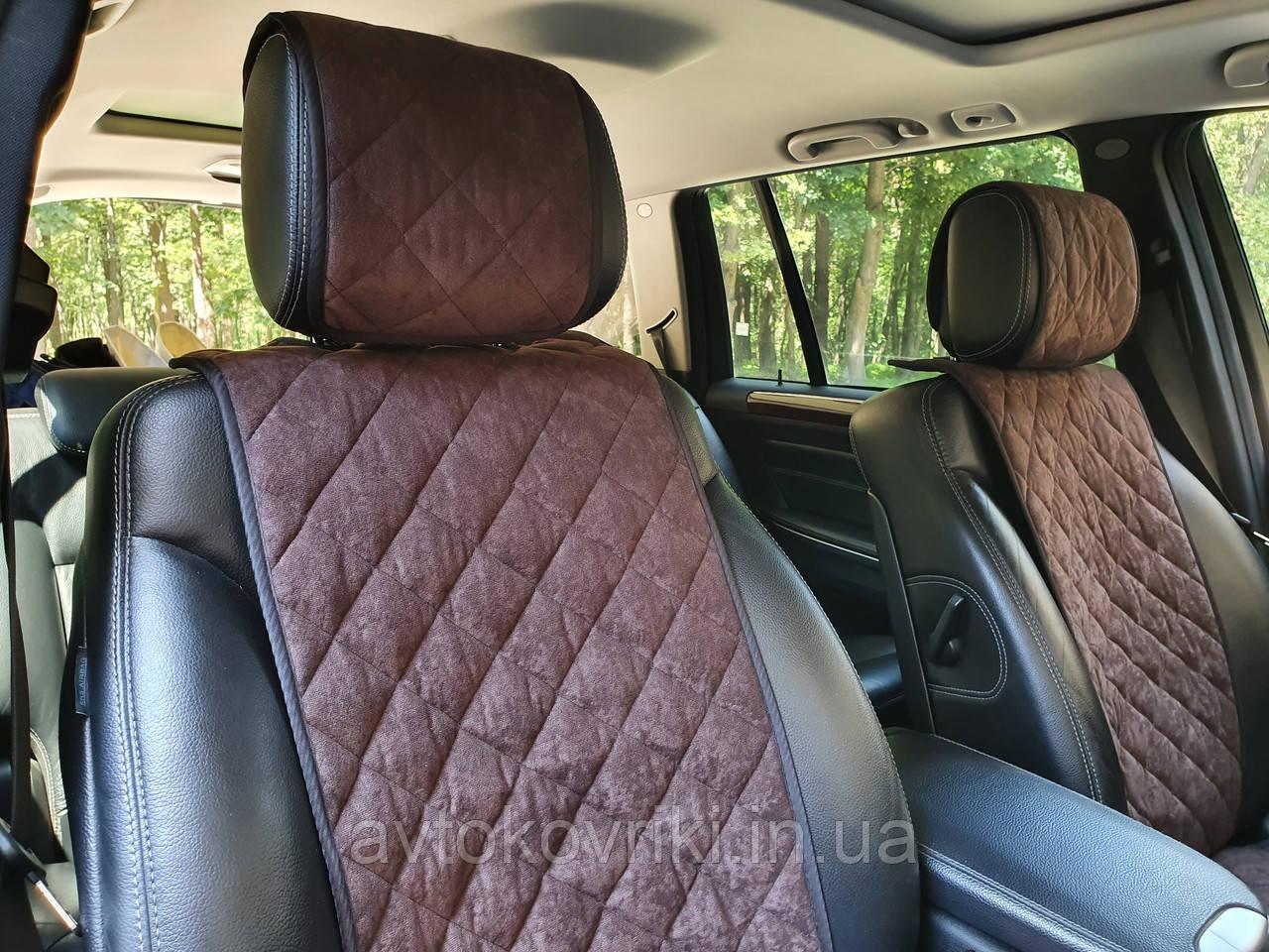 Накидки на сиденья темно-коричневые. Передний комплект. СТАНДАРТ. Авточехлы - фото 4