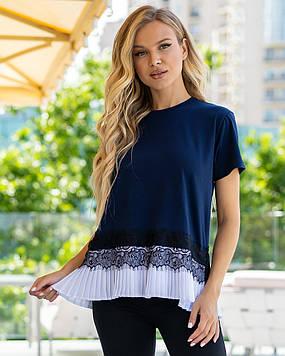 Темно-синяя   блузка футболка с оборками  рюшиками