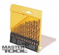 MasterTool Набір свердел для металу, 19 шт HSS титан(1-10 мм, крок 0,5 мм) в пластиковій коробці, Арт.: 11-0219
