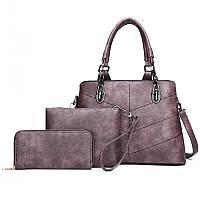 Женская сумка в наборе 3 в 1 + мини сумочка+ визитница, экокожа, фиолетовый, фото 1