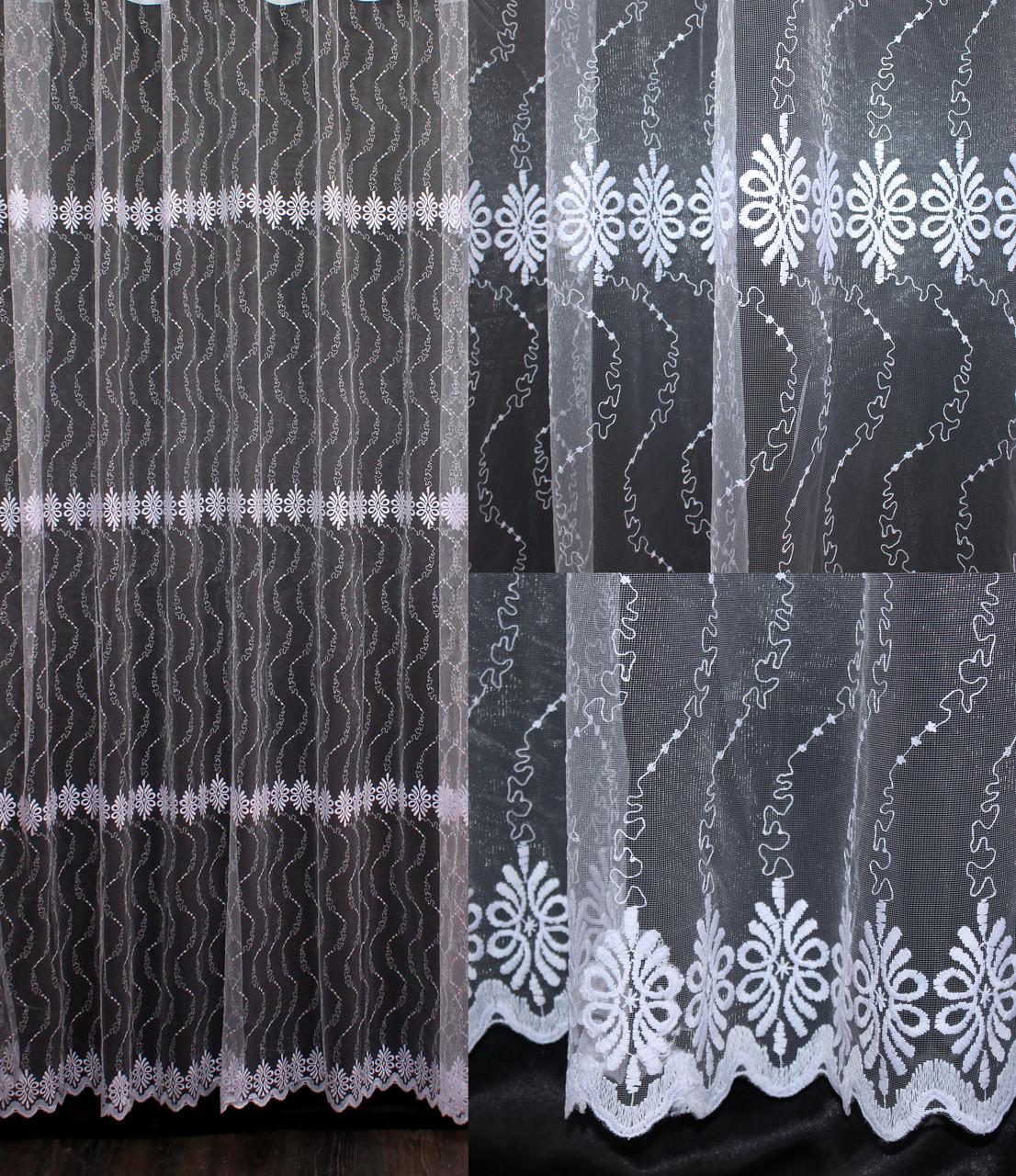 Гардина (3*2,5м) фатин с вышивкой. Цвет белый Код 547т     40-223