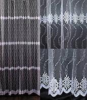 Гардина (3*2,5м) фатин с вышивкой. Цвет белый Код 547т     40-223, фото 1