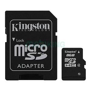 Карта памяти microSDHC 8Gb Kingston (Class 4) и Adapter SD, флешка для телефона.
