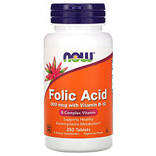 "Фолиевая кислота с витамином В12 NOW Foods ""Folic Acid with Vitamin B-12"" 800 мкг (250 таблеток)"