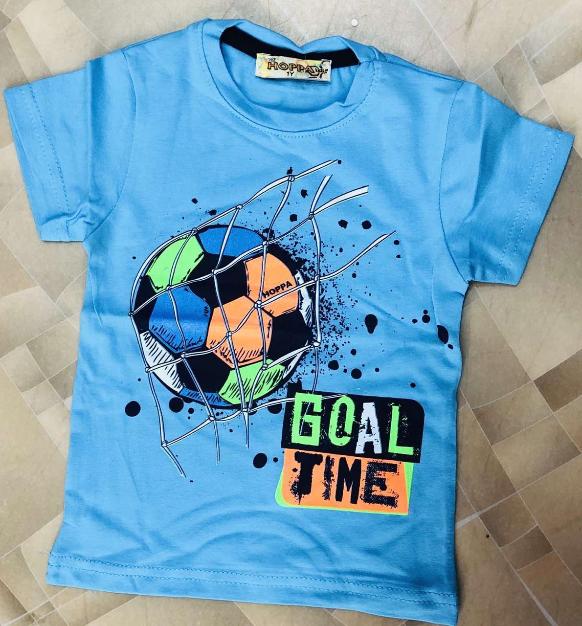 Детская футболка для мальчика  Мячик р. 1-4 лет голубая