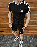 Комплект мужской Adidas Шорты + Футболка Адидас черный | спортивный костюм летний Премиум качества