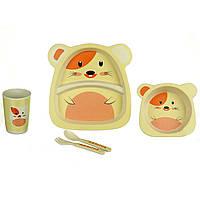 Набор детской посуды A-PLUS ECCO «Кот» 5 предметов Бамбук (набір дитячого посуду)