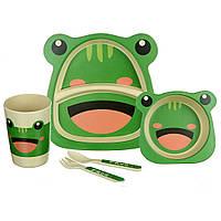 Набор детской посуды A-PLUS ECCO «Лягушка» 5 предметов Бамбук (набір дитячого посуду)