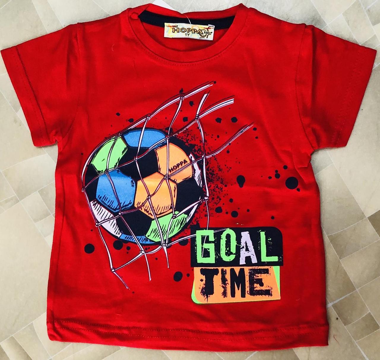 Детская футболка для мальчика Мячик р. 1-4 лет красная