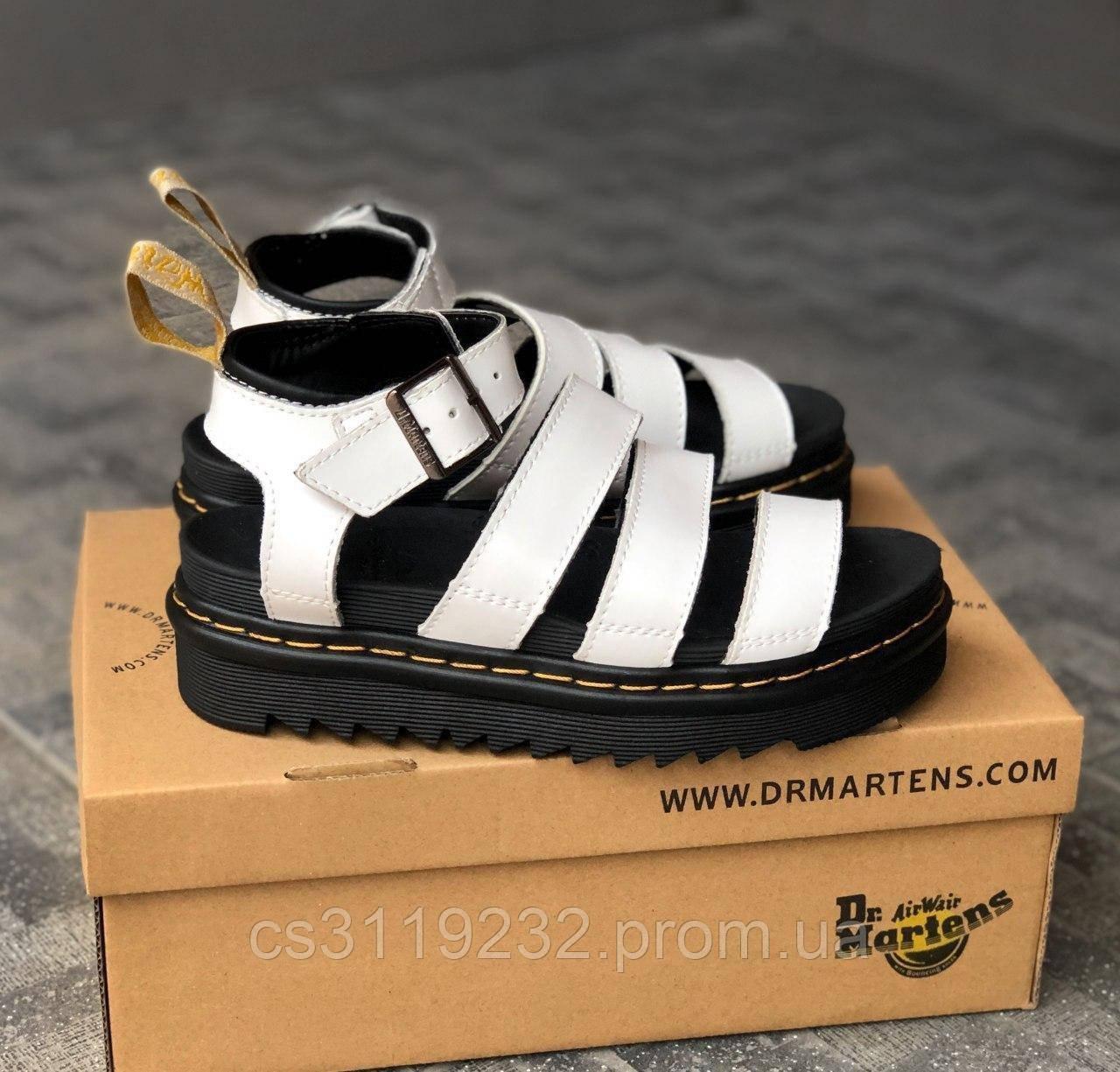 Женские кожаные сандали Dr. Martens Sandals White (белые)
