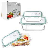 Стеклянные контейнеры с вакуумной крышкой для хранения пищевых продуктов, набор 3 шт. (600, 1000, 1500 мл.)