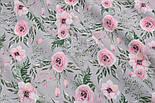 """Хлопковая ткань """"Розовые розочки и анемоны с вычурными листьями"""" на сером (№2827), фото 3"""